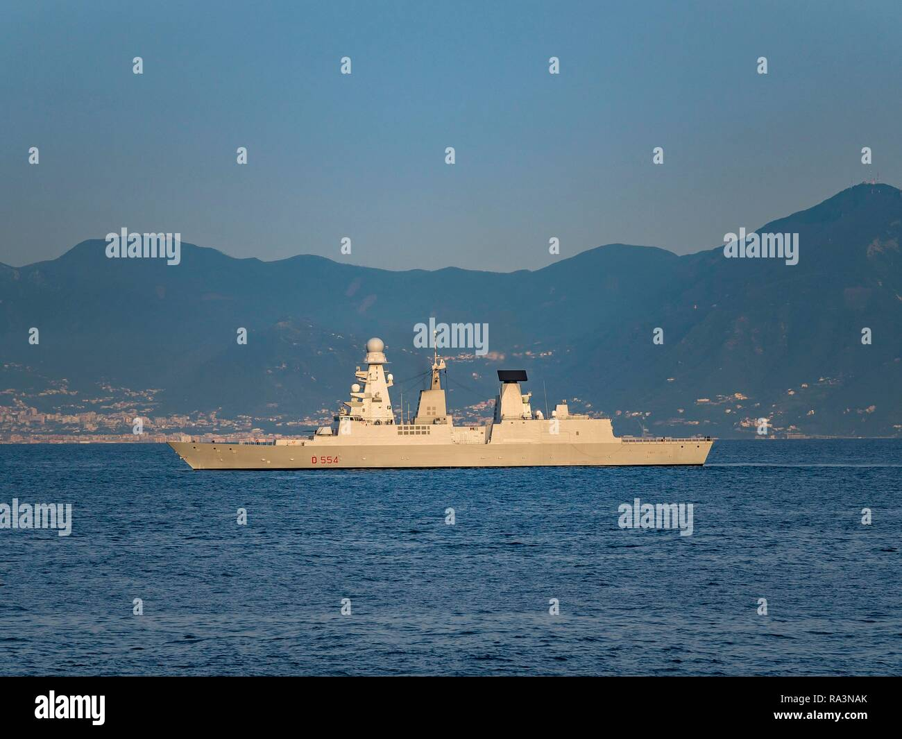 Caio Dullio warship, Horizon class, rocket equipped frigate, escort ship for aircraft carriers in port, Naples, Gulf of Naples - Stock Image
