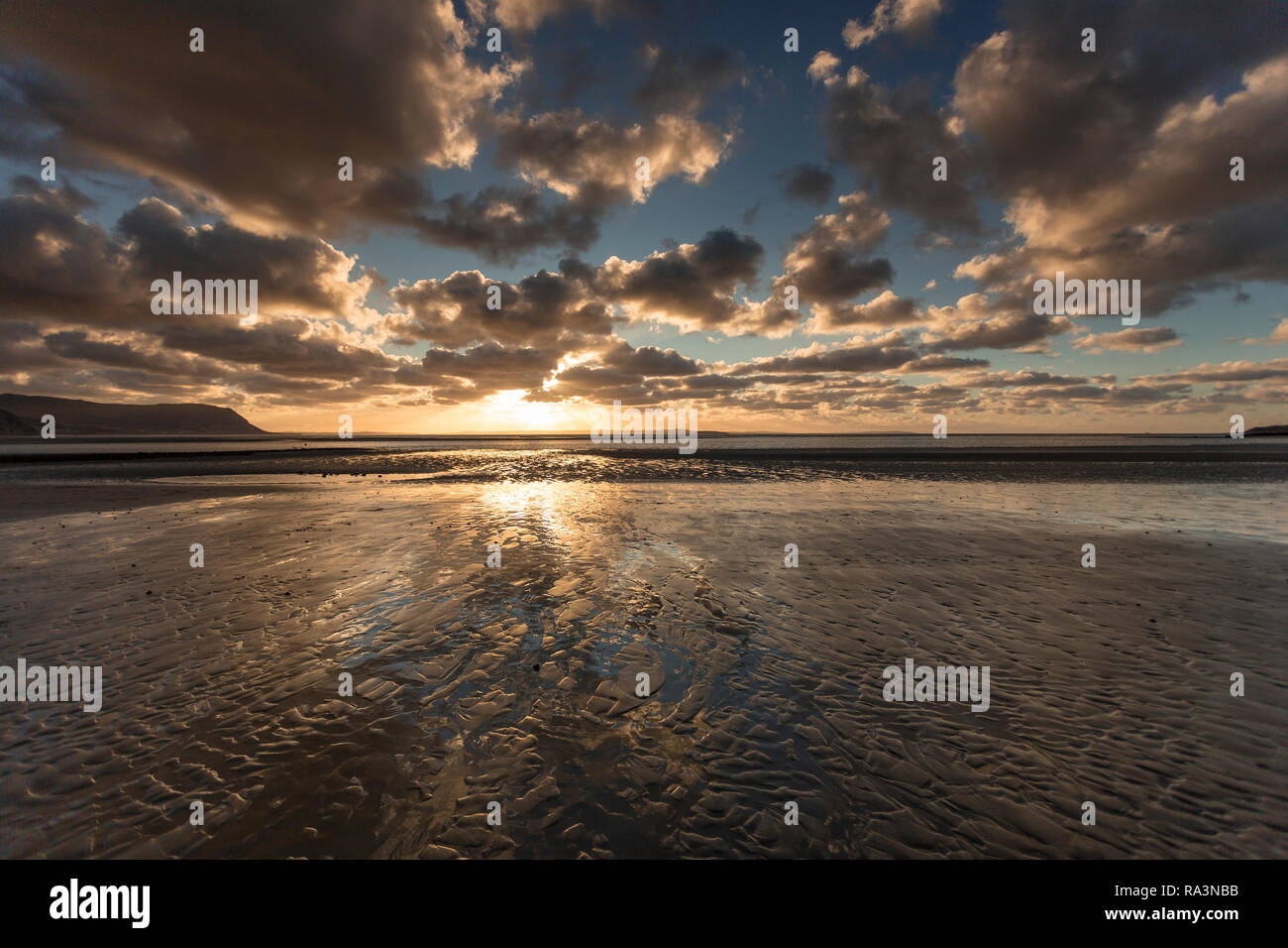 Sunset over the North Wales coast from Llandudno West Shore Stock Photo