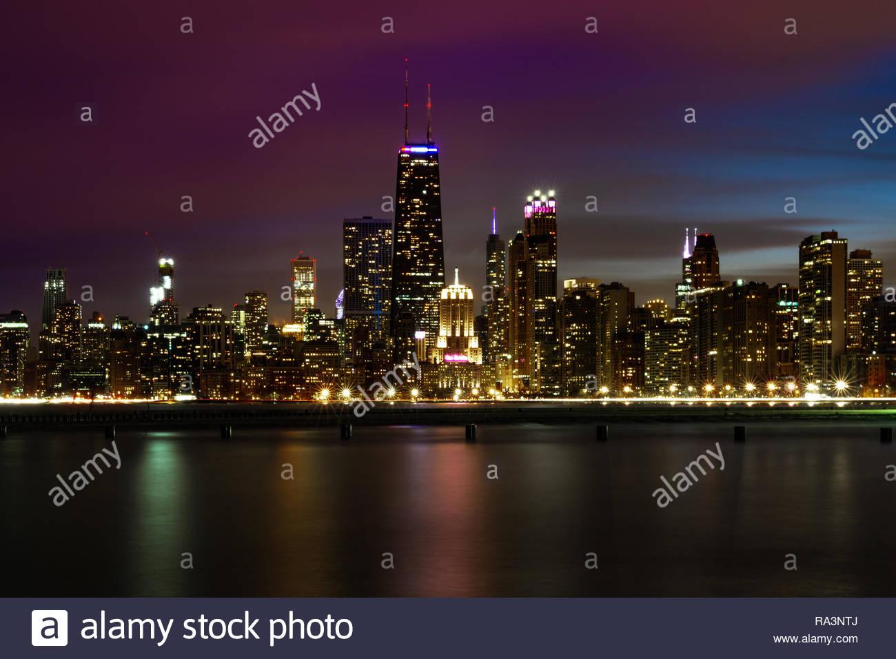 Chicago Skyline Twilight - Stock Image