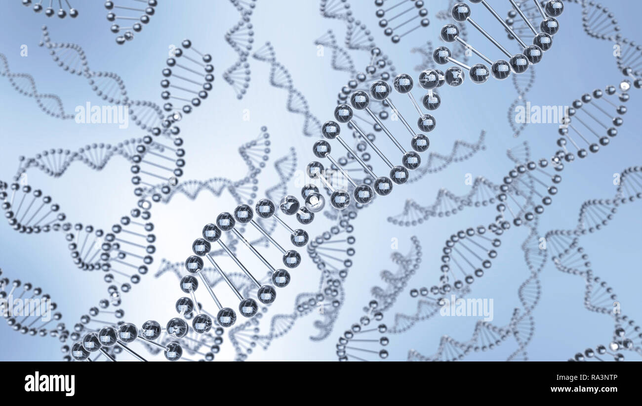 DNA molecules chains floating in water. Abstract dna from glass material. One Dna chain is in focus and other are not. Close up, selective focus - Stock Image