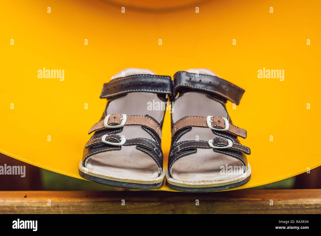 children's orthopedic shoes. Thomas Heel, arch support - Stock Image