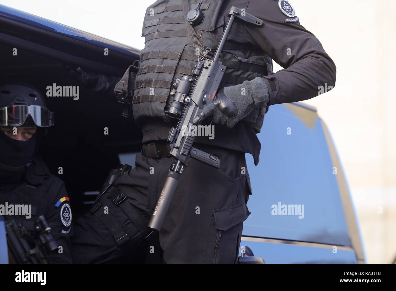 Bucharest, Romania - December 1, 2018: Anti terrorist officer from the Romanian Intelligence Service, armed with a MP7 Heckler & Koch Submachine Gun,  - Stock Image