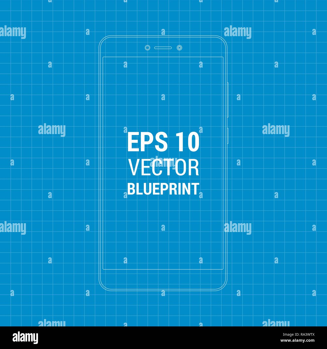 Blueprint outline flat mock-up Xiaomi Redmi Note 4  Scale image any