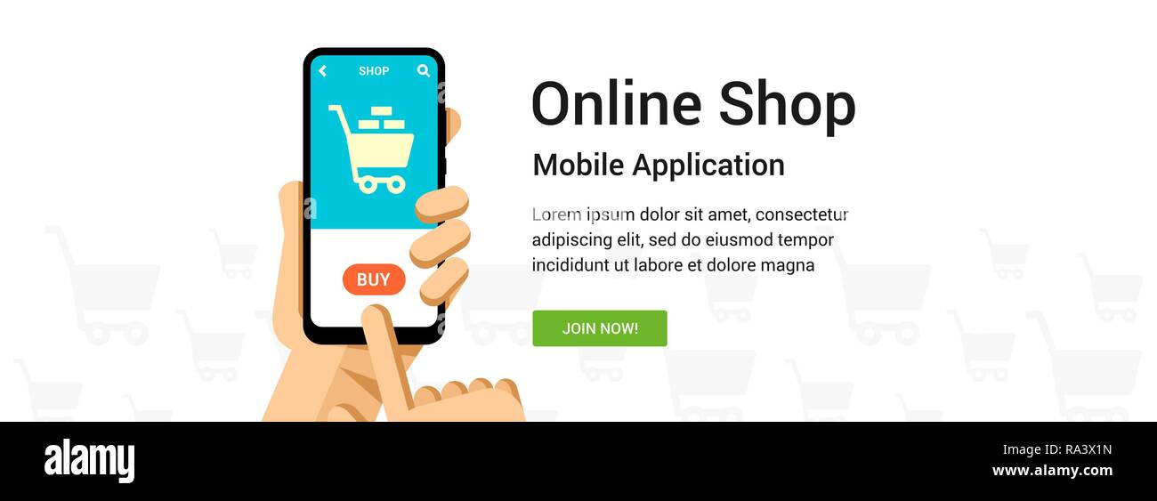 Vector flat banner for online shop application. Phone in hand illustration for mobile or web design - Stock Image