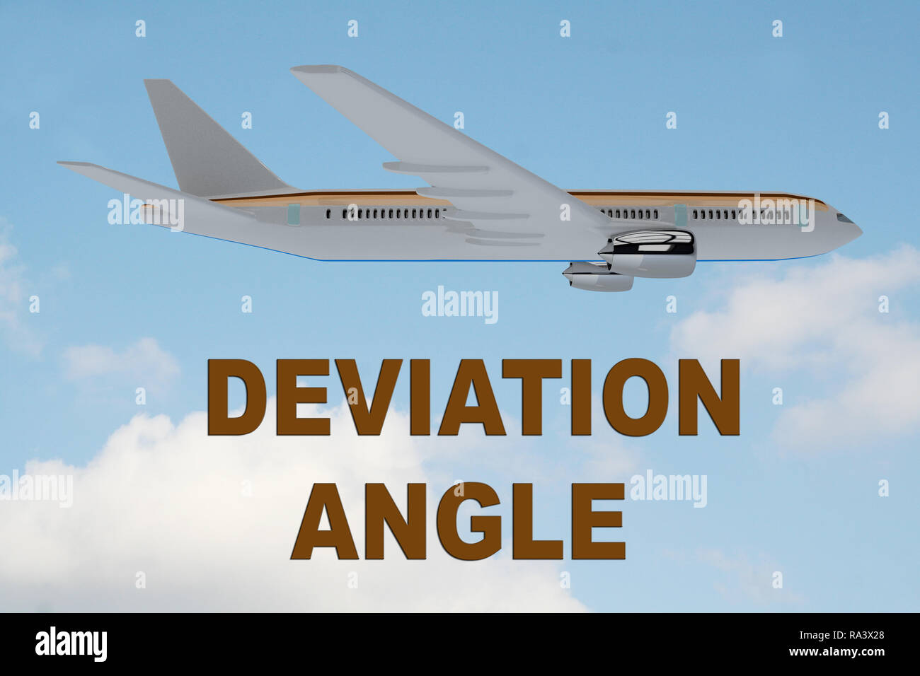 3D illustration of DEVIATION ANGLE title on cloudy sky as a background, under an airplane. - Stock Image