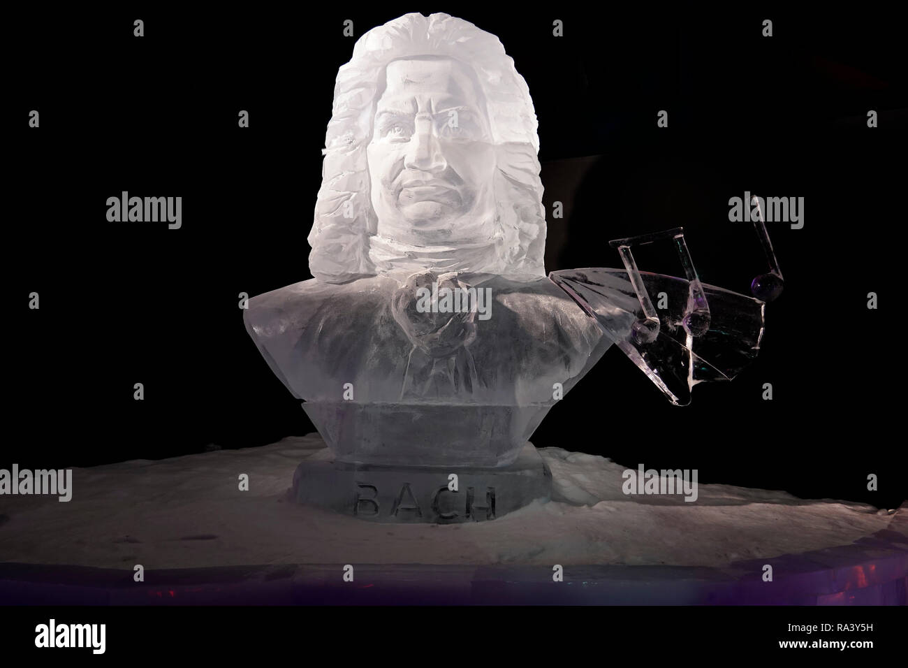 Bust of snow and ice, depicting the composer Johann Sebastian Bach. Exhibit of the 'Eiswelt' (Ice World) at the Bayrischer Bahnhof, Leipzig, Germany. - Stock Image