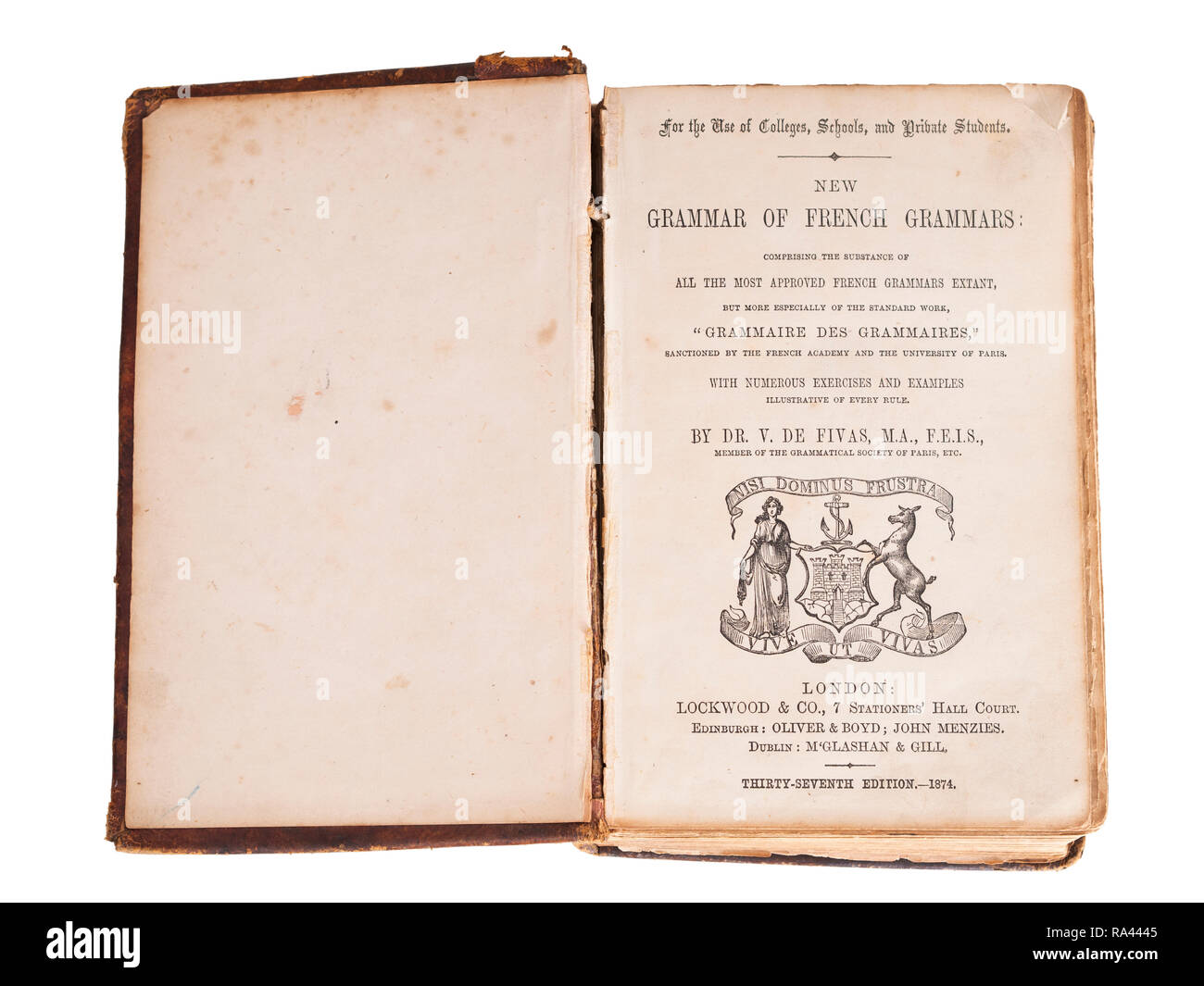 French grammar book from 1874, isolated on white background. - Stock Image