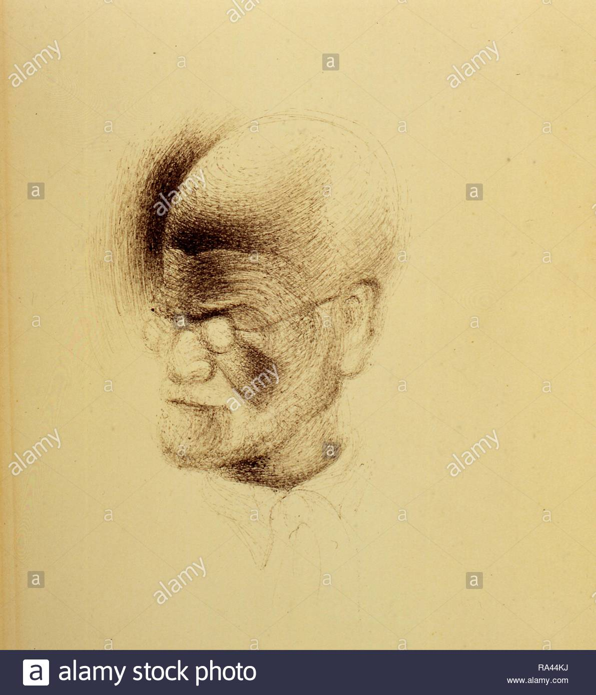 Portrait of Sigmund Freud. Museum: Freud Museum London. Author: DALI, SALVADOR. Copyright: This artwork is not in public domain. It is your responsibility to obtain all necessary third party permissions from the copyright handler in your country prior to publication. - Stock Image