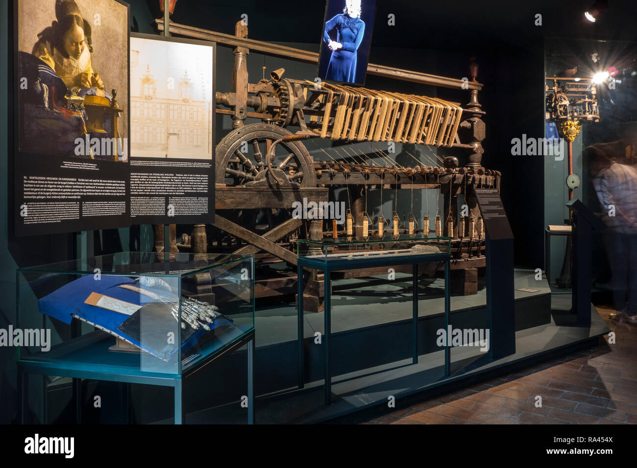 Old twine mill / wooden yarn twisting machine from 1789 at MIAT / Industriemuseum, industrial archaeology museum, Ghent, Belgium - Stock Image
