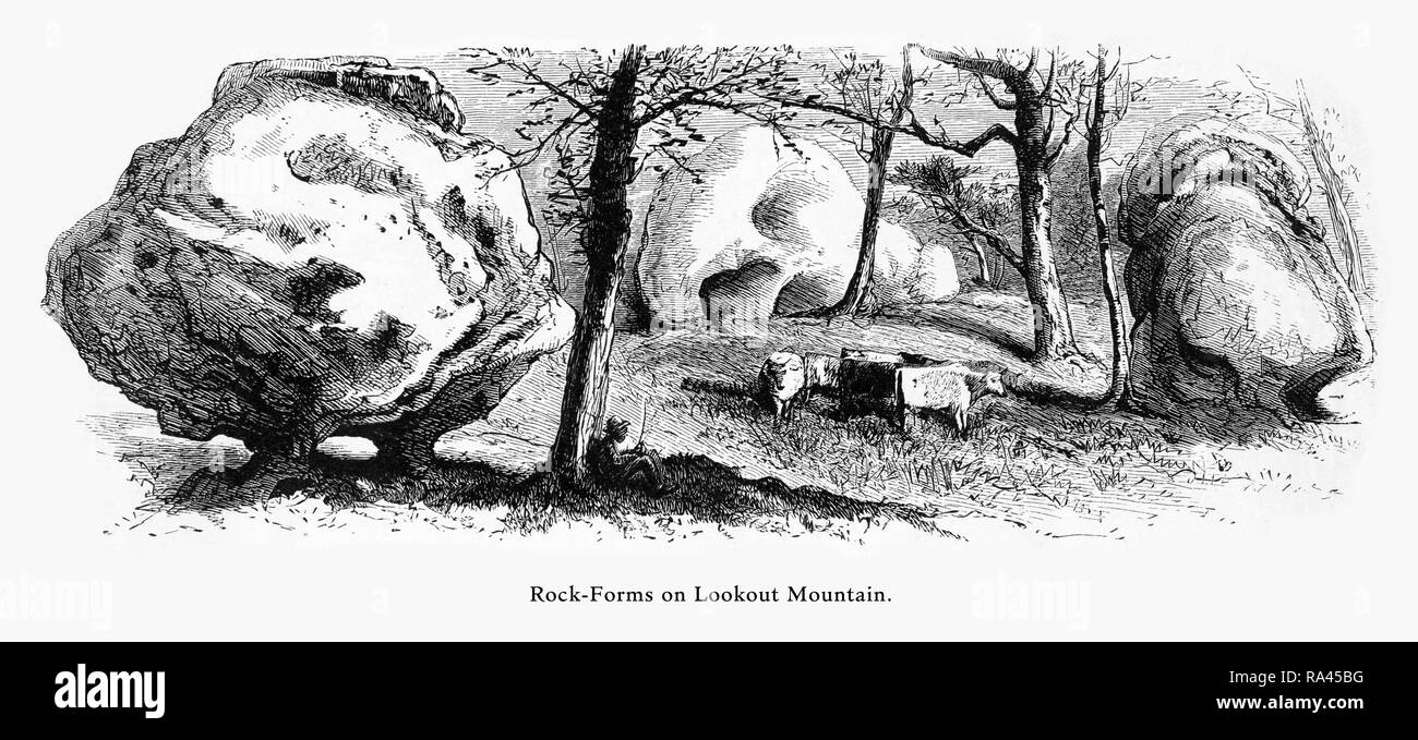 Rock Formations, Lookout Mountain, Tennessee, United States, American Victorian Engraving, 1872 - Stock Image