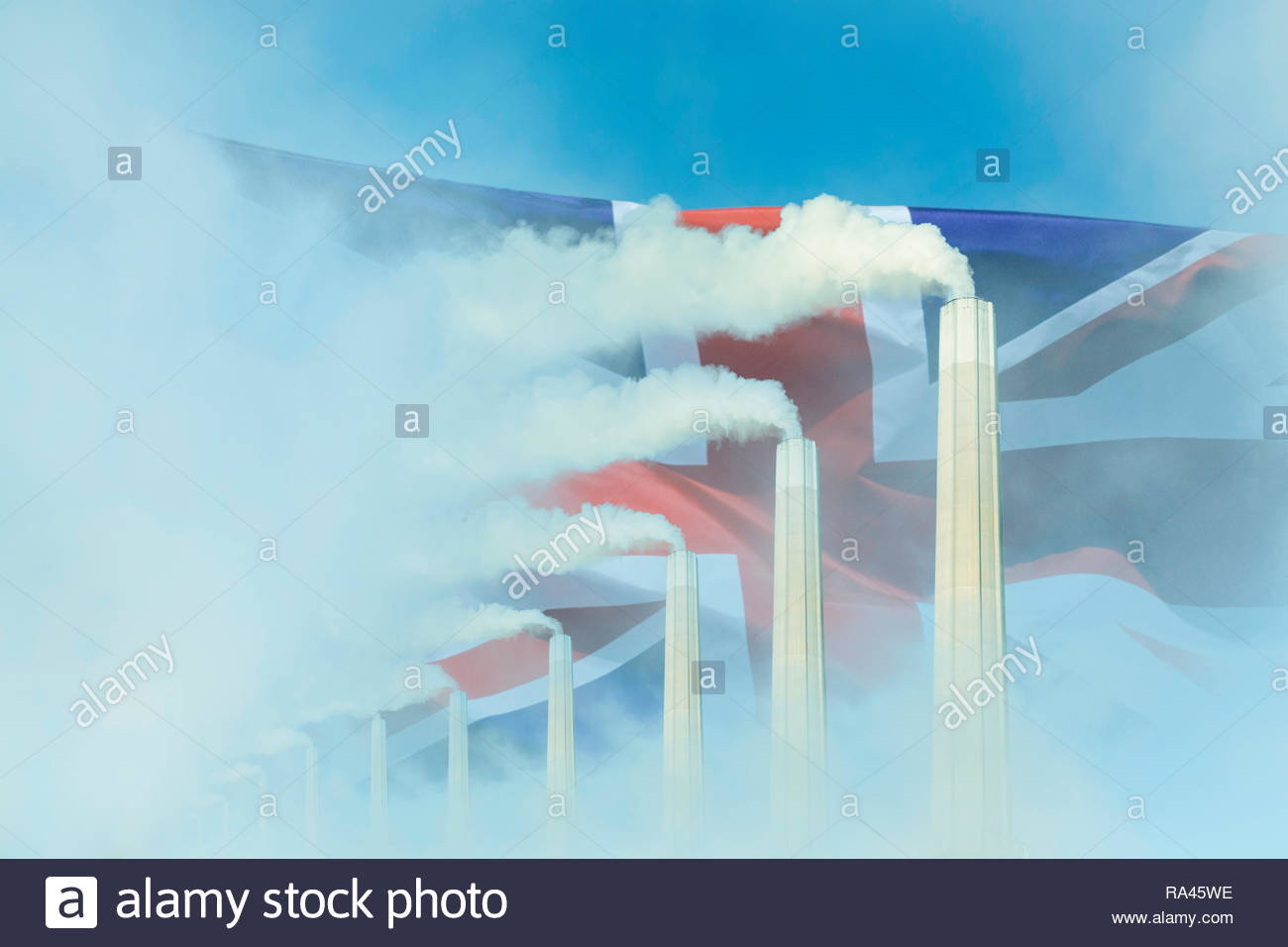 Global warming Climate change  UK flag smoke greenhouse gas chimney. - Stock Image