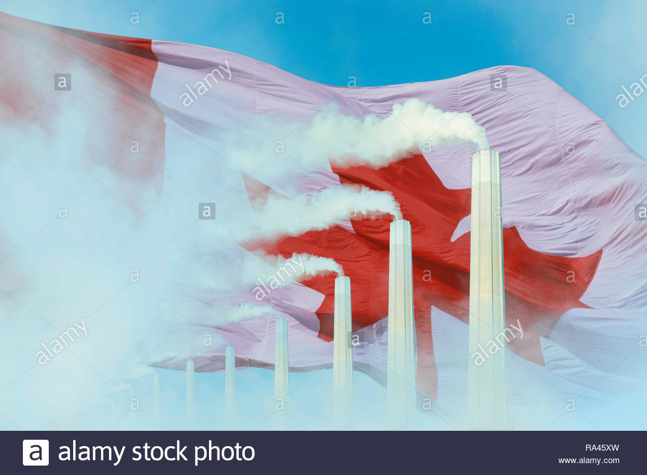 Global warming Climate change  Canadian flag smoke greenhouse gas chimney. - Stock Image