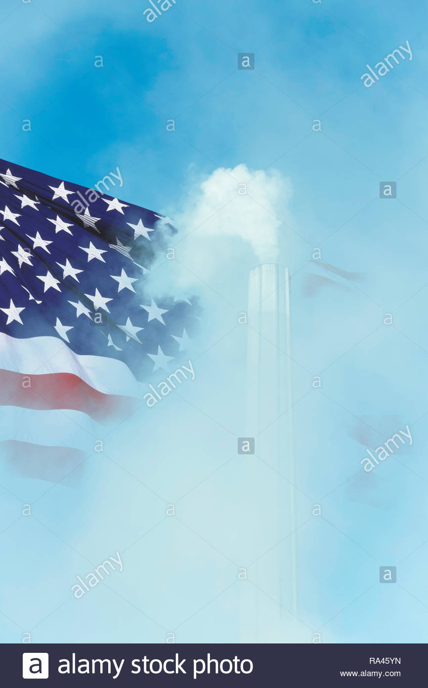 Global warming Climate change US flag smoke greenhouse gas chimney. - Stock Image