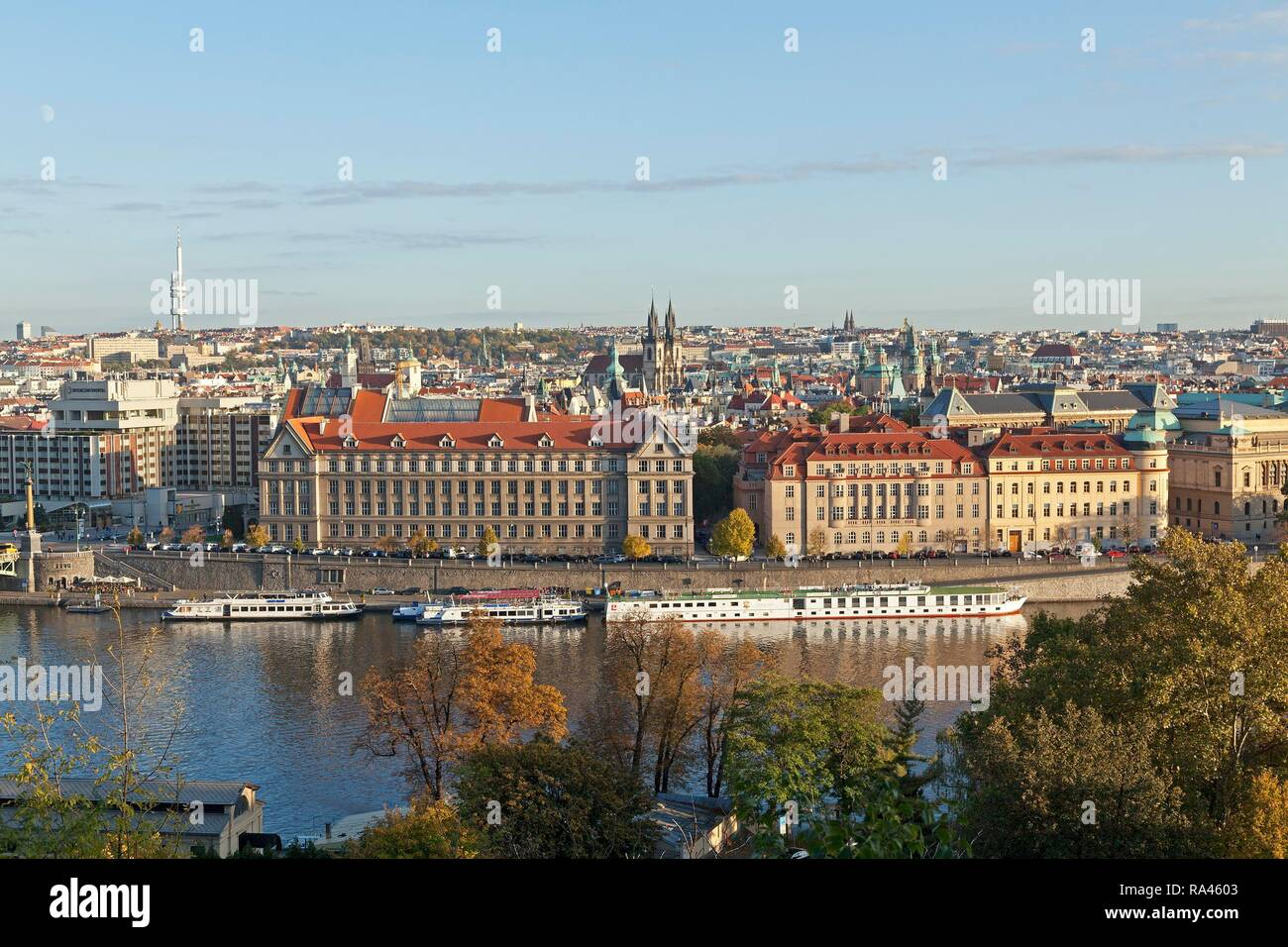 View from the Letna hill of the historic centre, Prague, Czech Republic - Stock Image