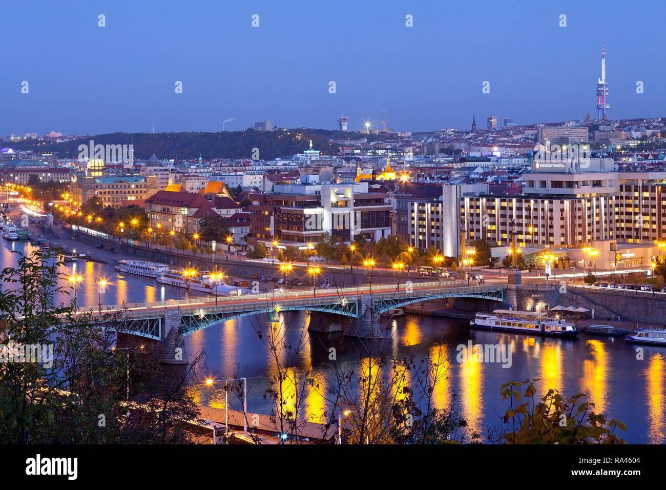 View from the Letna hill on the Moldova bridge Čechův most, Prague, Czech Republic Stock Photo