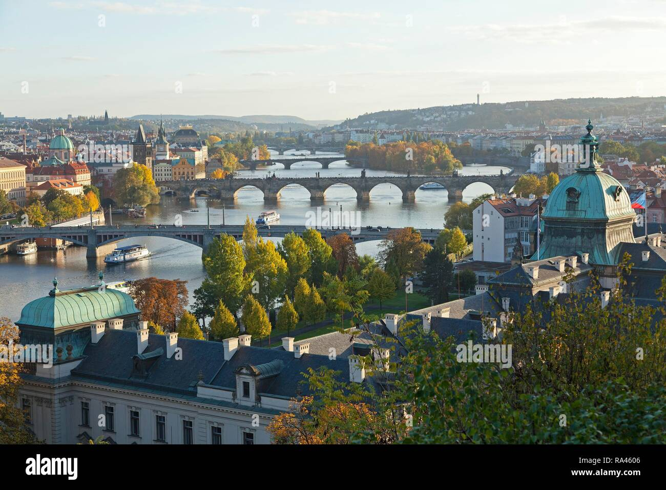 Iew from the Letna hill on Moldova and bridges, Prague, Czech Republic - Stock Image