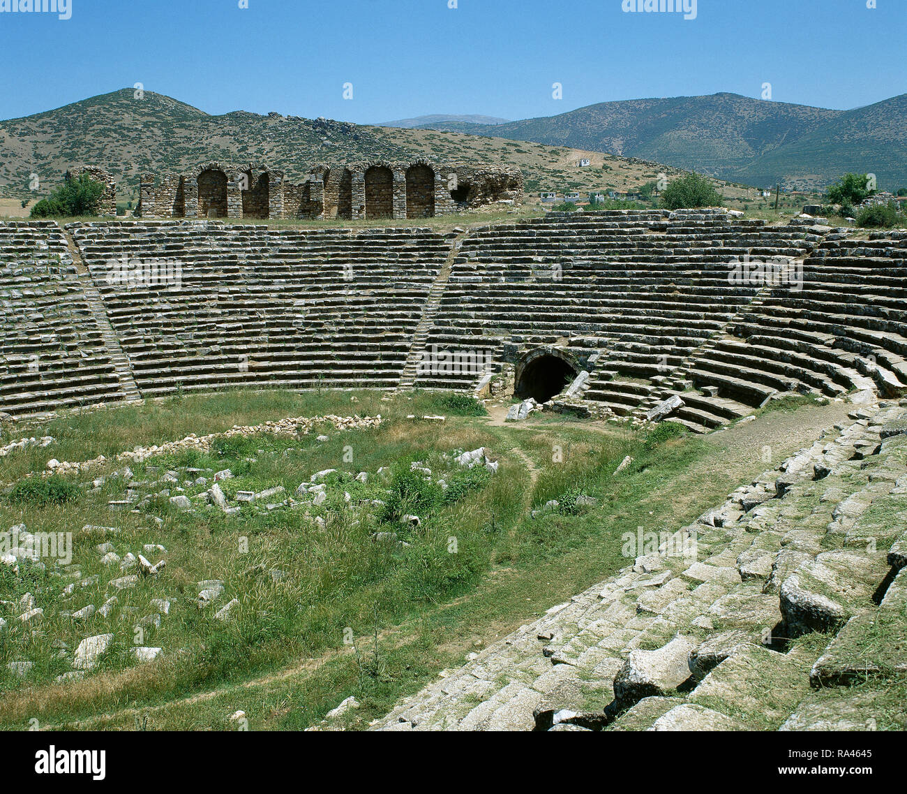 Turkey. Aphrodisias. Ancient Greek Classical city. The Stadium. It was built in the later 1st century AD. Originally designed for athletic contests. Panoramic view of the east end of the building, turned into an amphitheatre and arena specifically designed for Roman-style entertainments, ca. 400 AD. - Stock Image