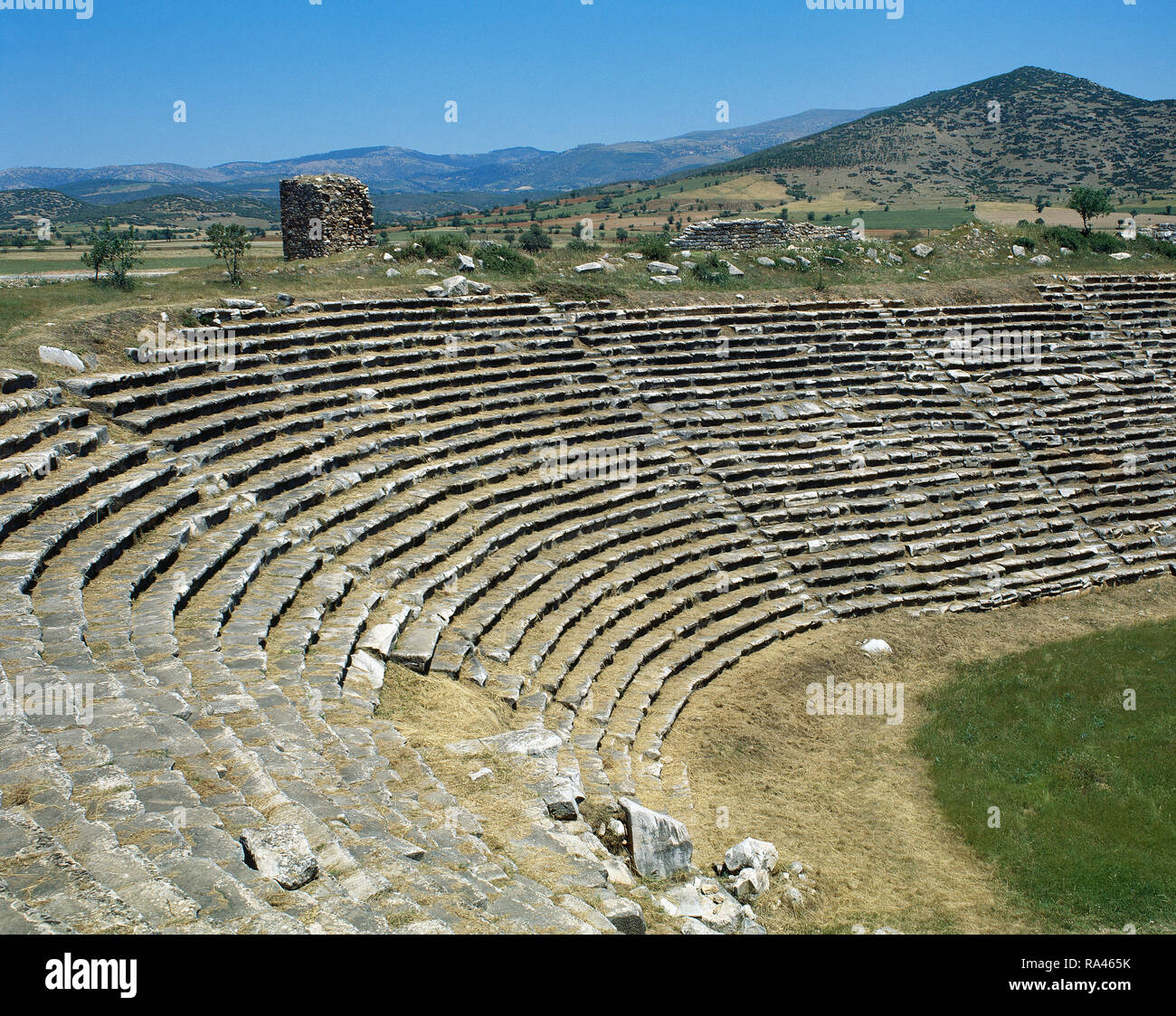 Turkey. Aphrodisias. Ancient Greek Classical city. The Stadium. It was built in the later 1st century AD. Originally designed for athletic contests. Architectural detail of the west end. - Stock Image
