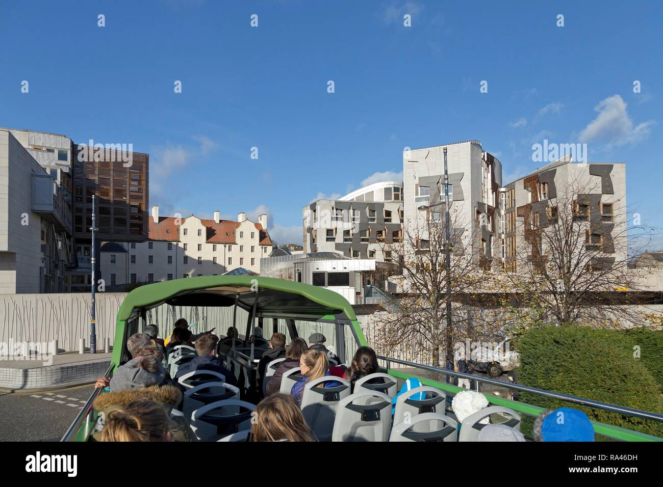 Holyrood, Scottish Parliament, from Sightseeing-Bus, Edinburgh, Scotland, Great Britain - Stock Image