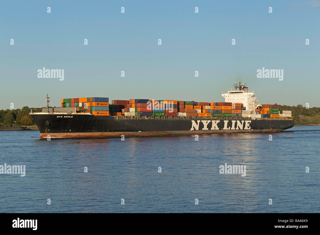 Container ship Nyk Line on Elbe river, Finkenwerder, Hamburg, Germany - Stock Image