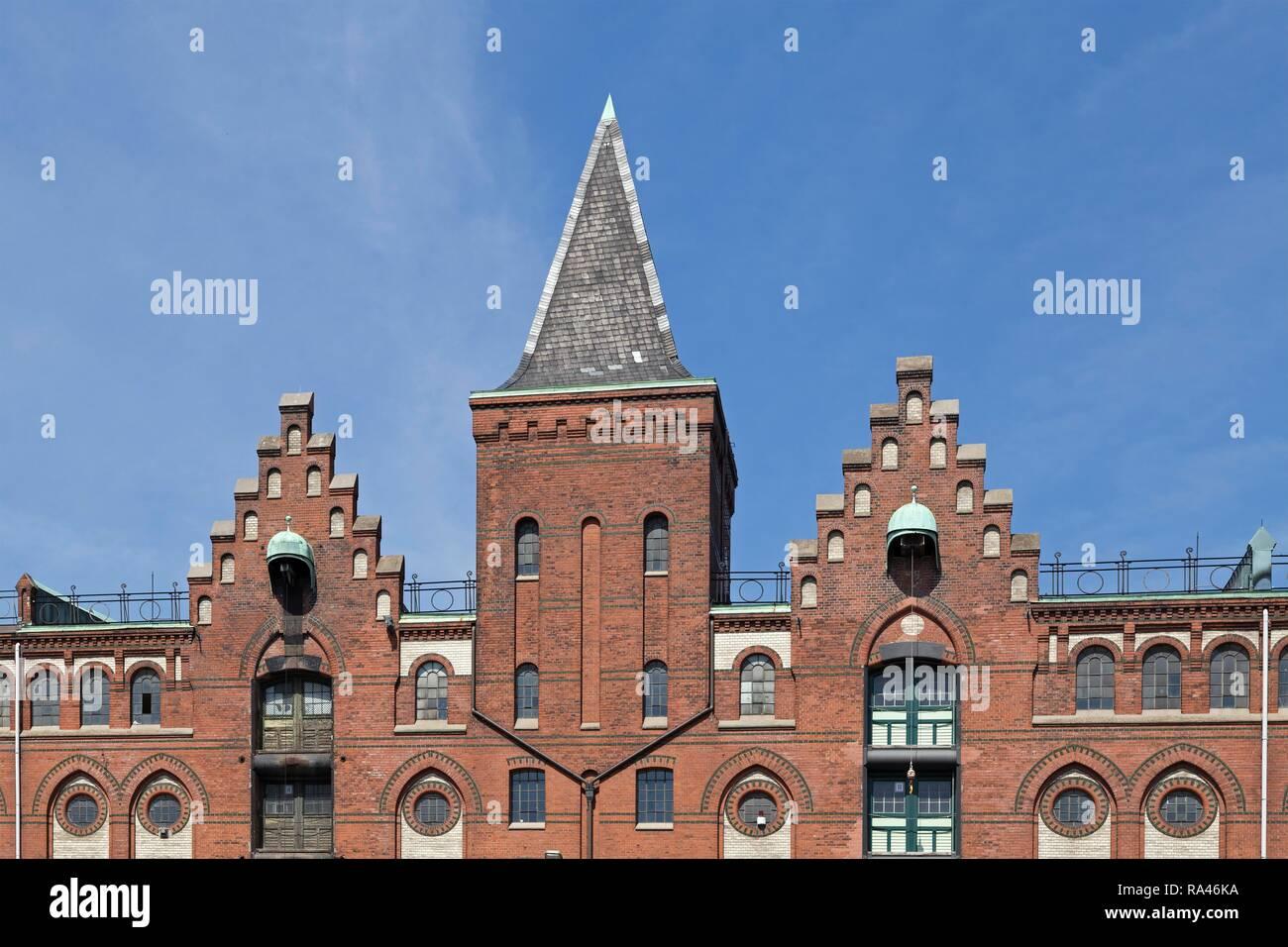 Giebel, Red brick facade, Speicherstadt, Hamburg, Germany - Stock Image