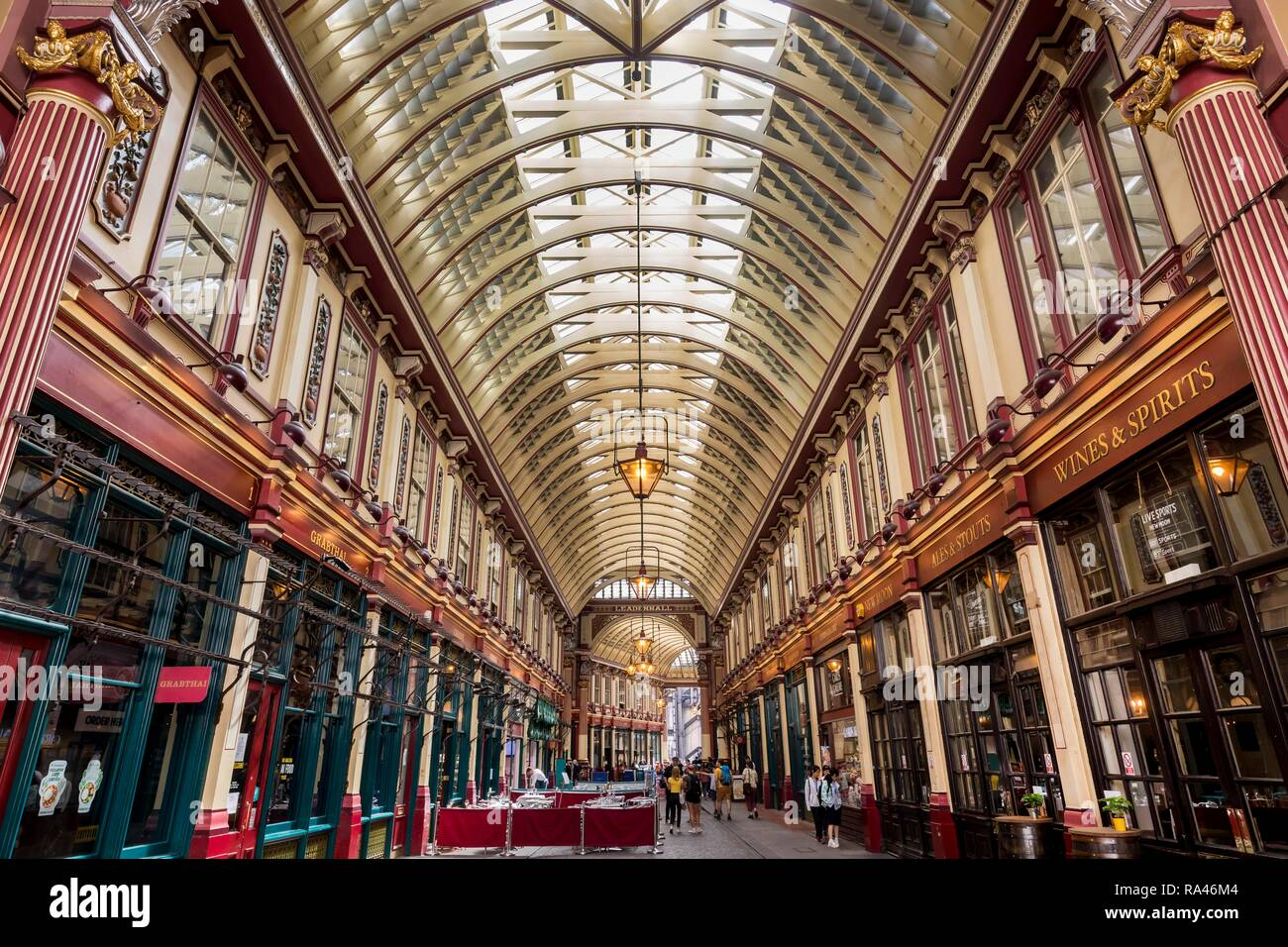 Shopping arcade Leadenhall Market in the financial district, London, United Kingdom - Stock Image