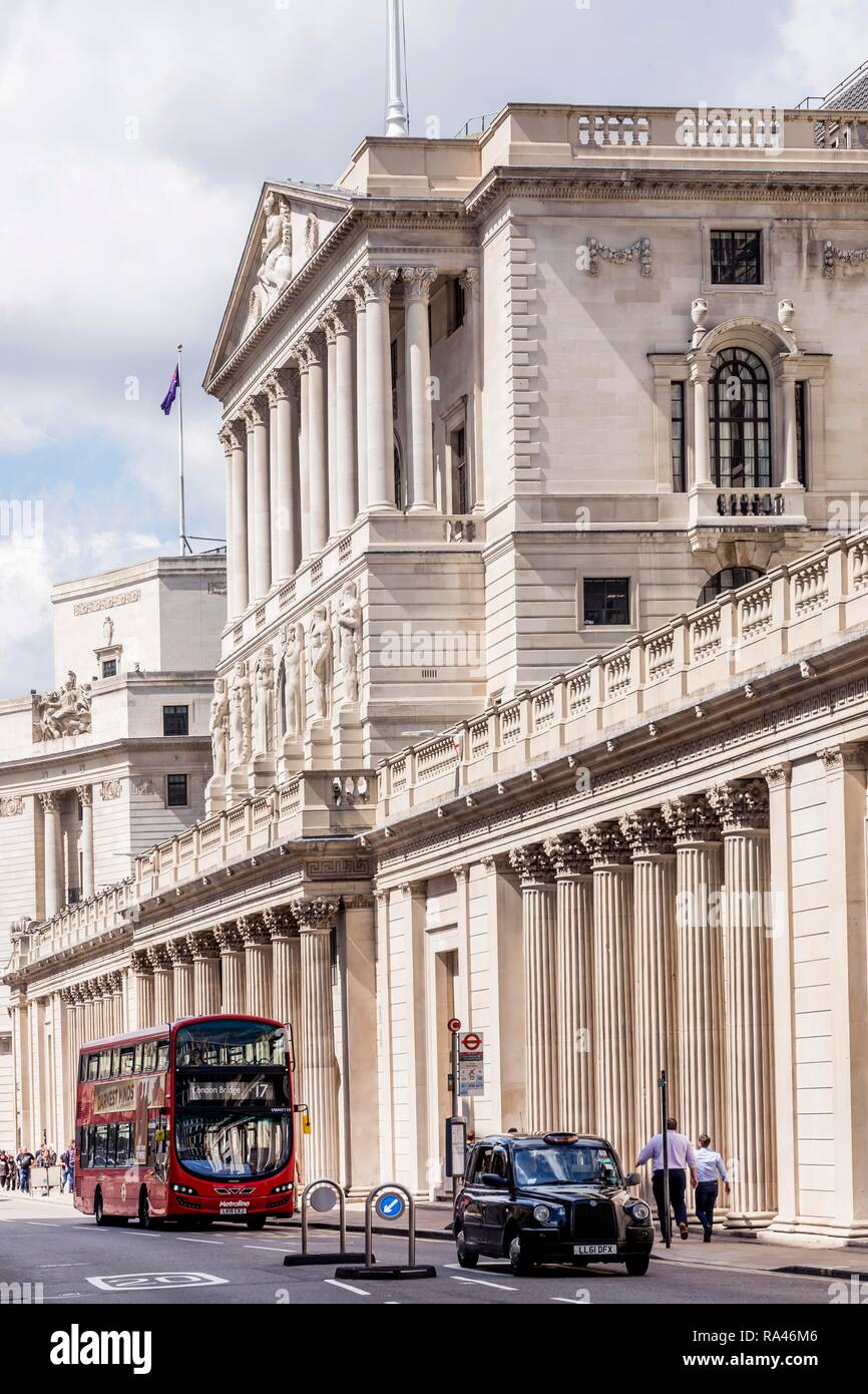 Red bus and English taxi in front of Bank of England, Financial District, London, United Kingdom - Stock Image