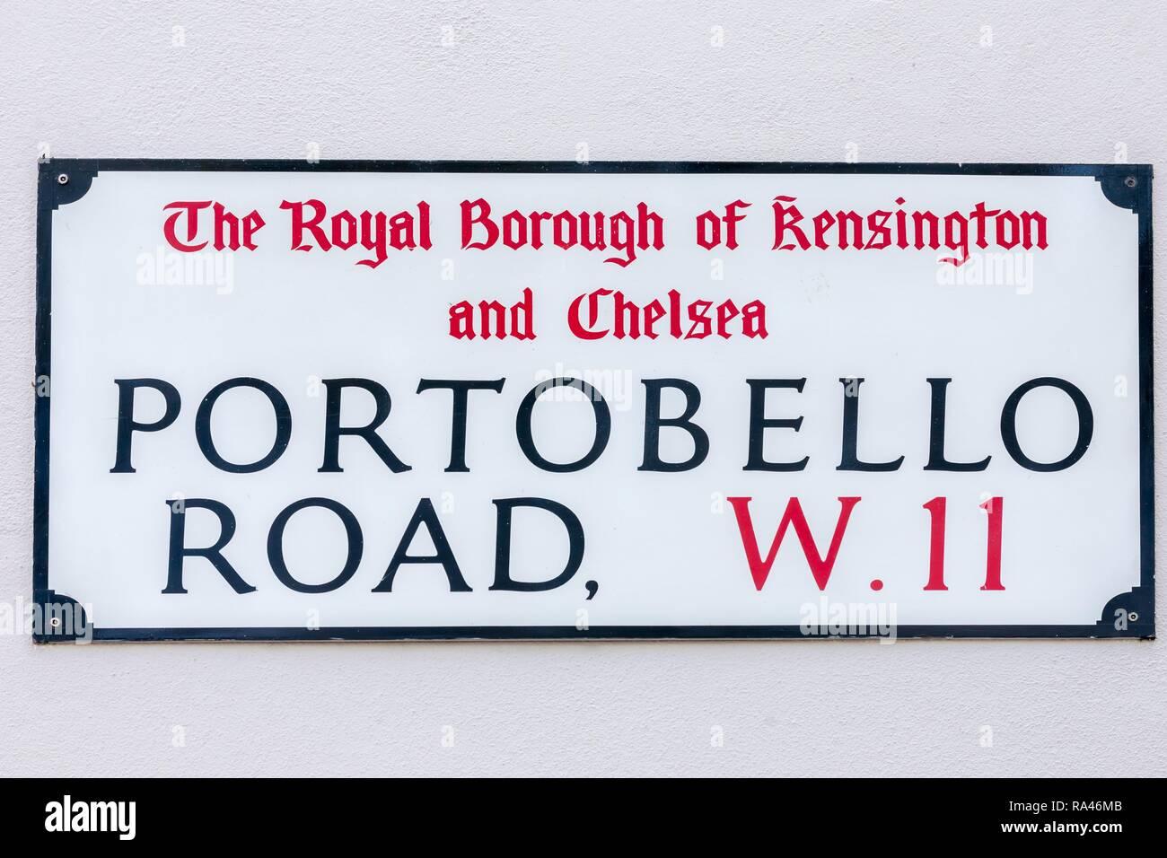 Road sign Portobello Road, Notting Hill, London, Great Britain - Stock Image