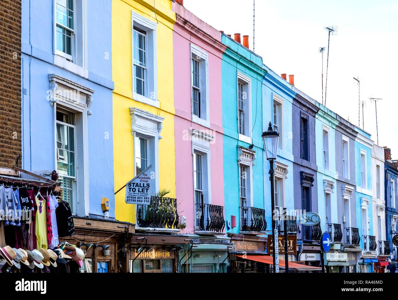 Colorful row of houses on Portobello Road, Notting Hill, London, Great Britain Stock Photo