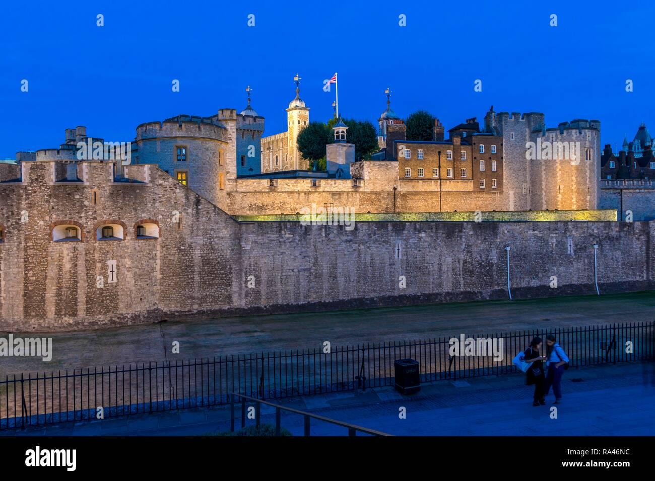 Illuminated Tower of London, night scene, blue hour, London, Great Britain Stock Photo