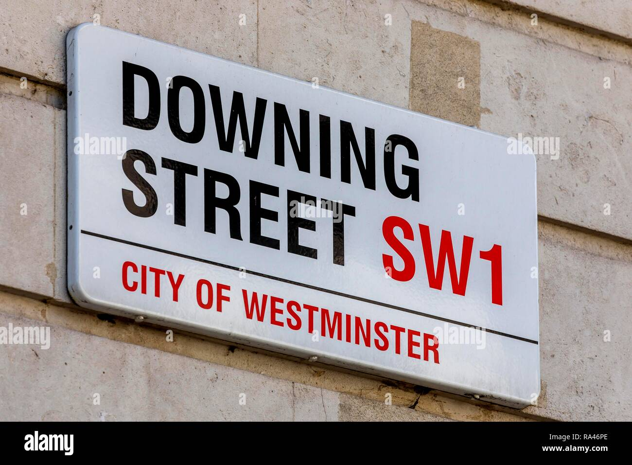 Road sign Downing Street, Government District, Westminster, London, United Kingdom - Stock Image