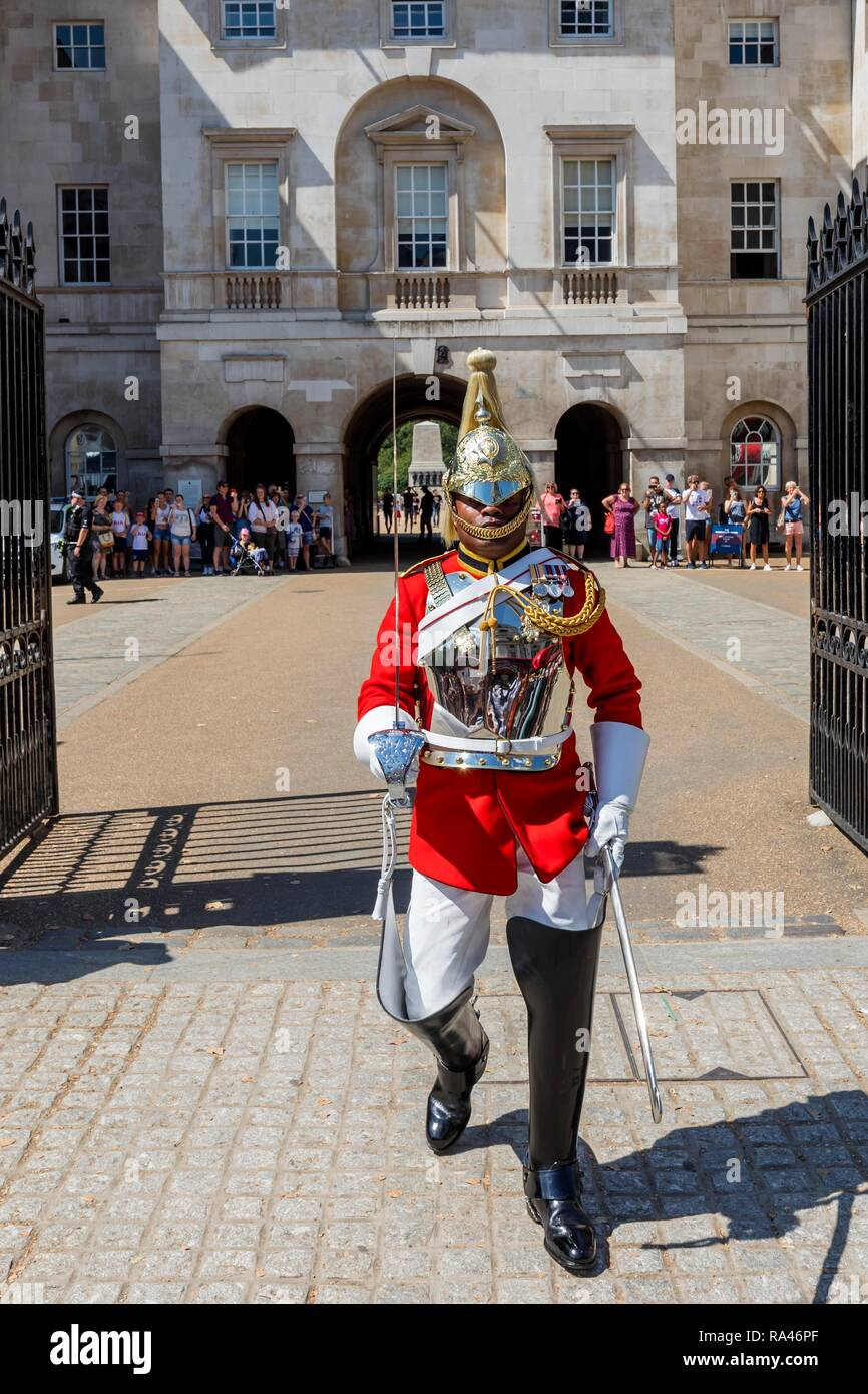 Soldier of the mounted regiment, the Household Cavalry Mounted Regiment, changing of the guard in front of the Horse Guard - Stock Image