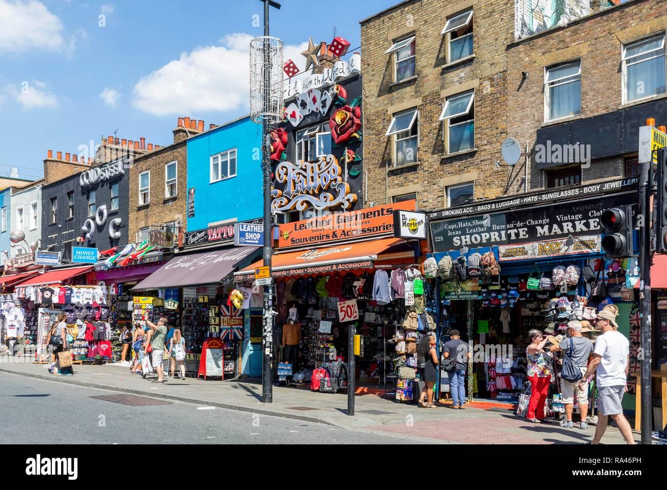 Shops on Camden High Street, Camden Market, Camden, London, United Kingdom - Stock Image