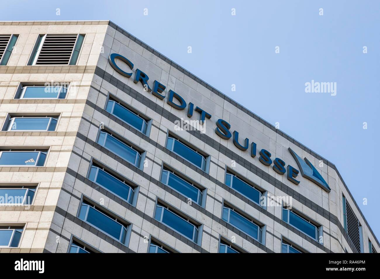 The Swiss bank Credit Suisse, financial and banking district Canary Wharf, London, United Kingdom - Stock Image