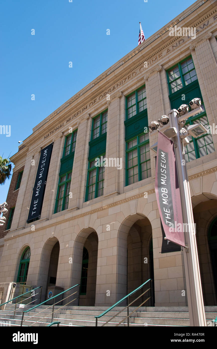 "The National Museum of Organized Crime and Law Enforcement, the ""Mob Museum,"" in Las Vegas, is dedicated to the history of organized crime in America. Stock Photo"