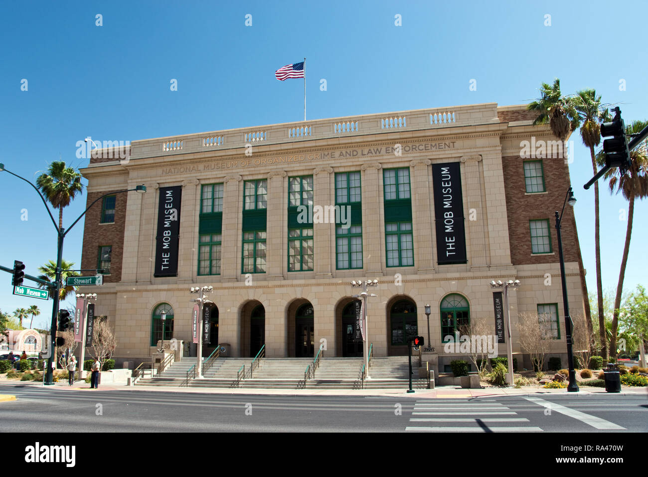 """The National Museum of Organized Crime and Law Enforcement, the """"Mob Museum,"""" in Las Vegas, is dedicated to the history of organized crime in America. Stock Photo"""