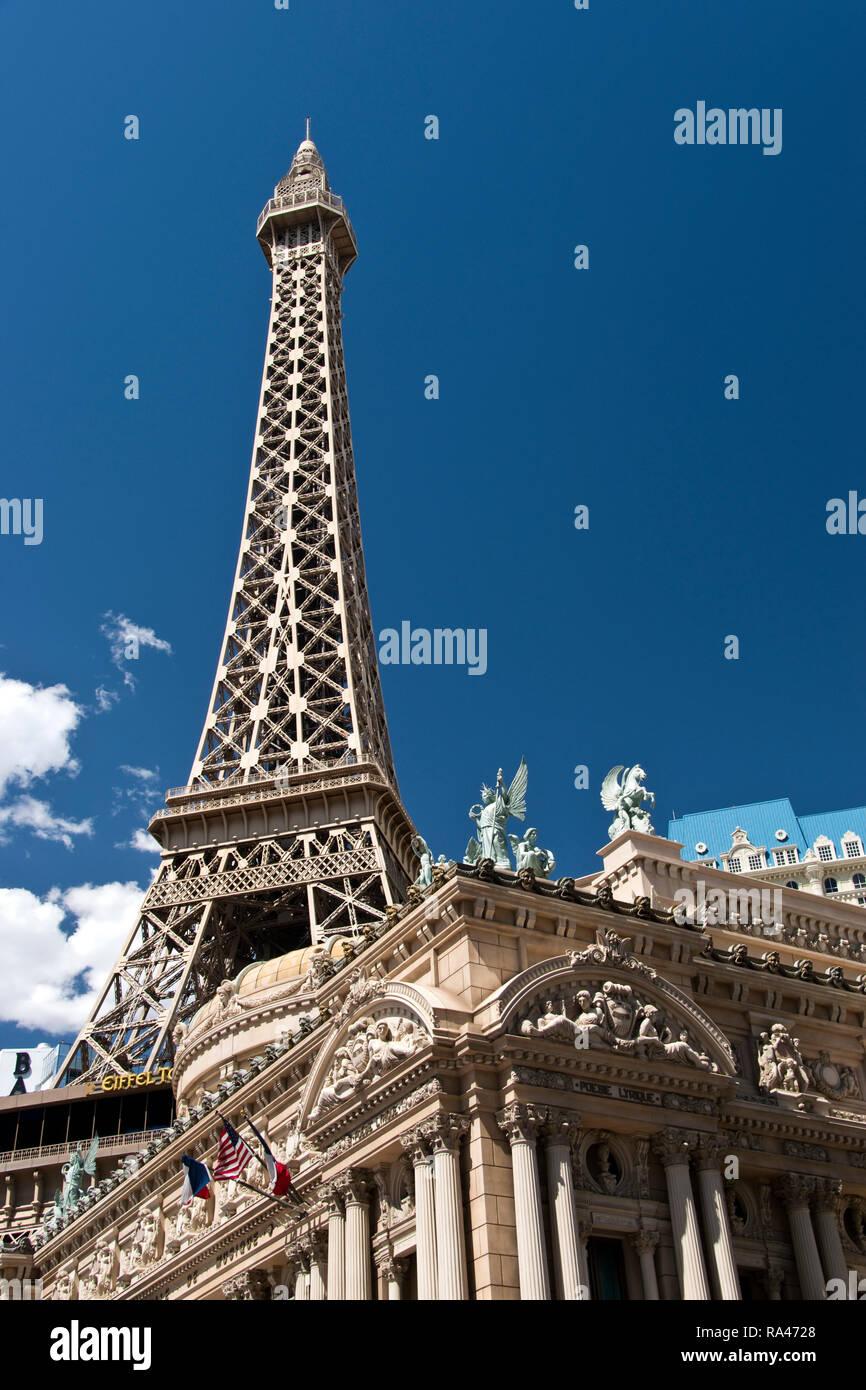 The Paris Casino with a replica Eiffel Tower on the Strip, Las Vegas, Nevada. - Stock Image