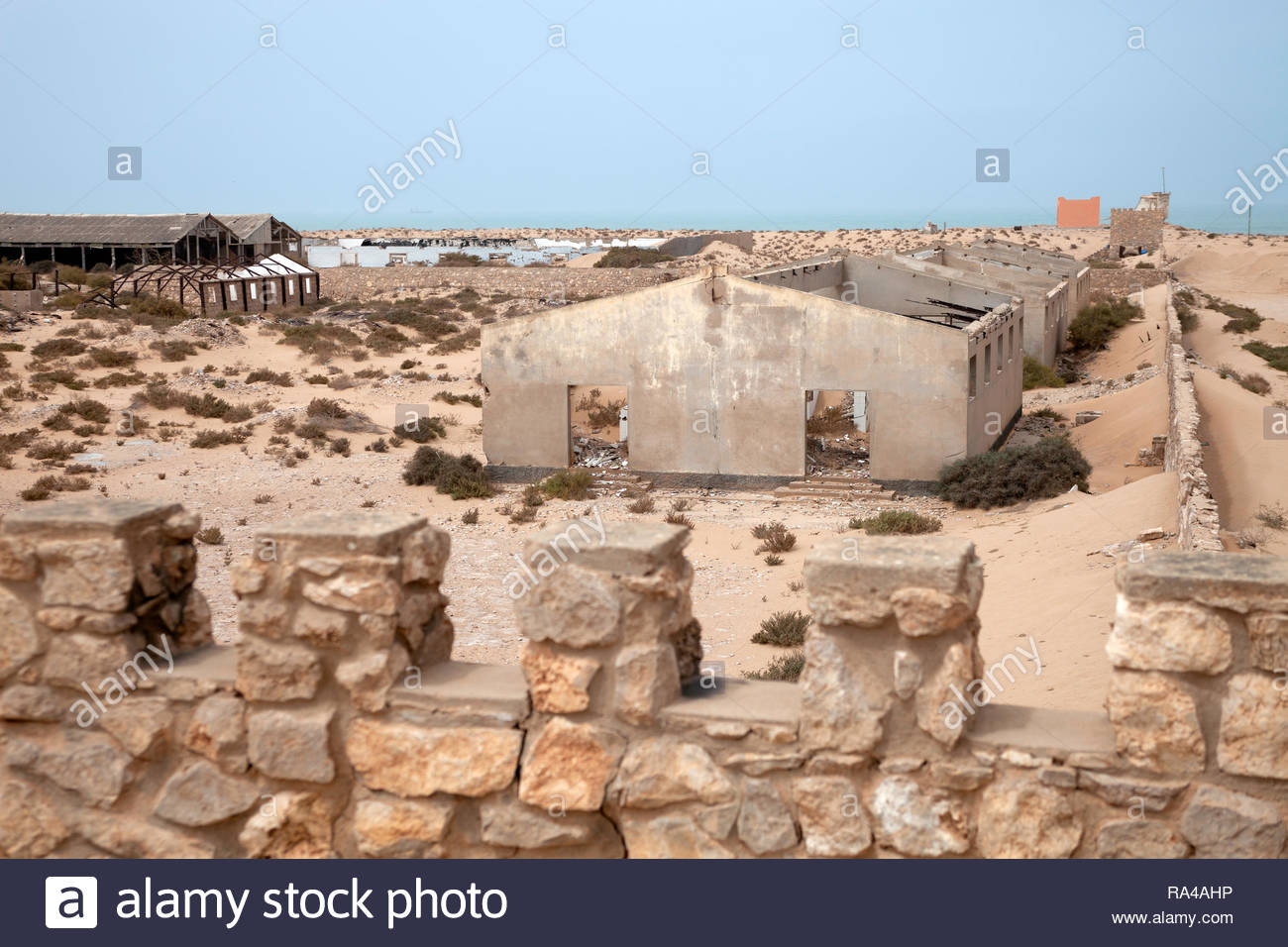 Buildings inside old abandoned spanish fort - Stock Image