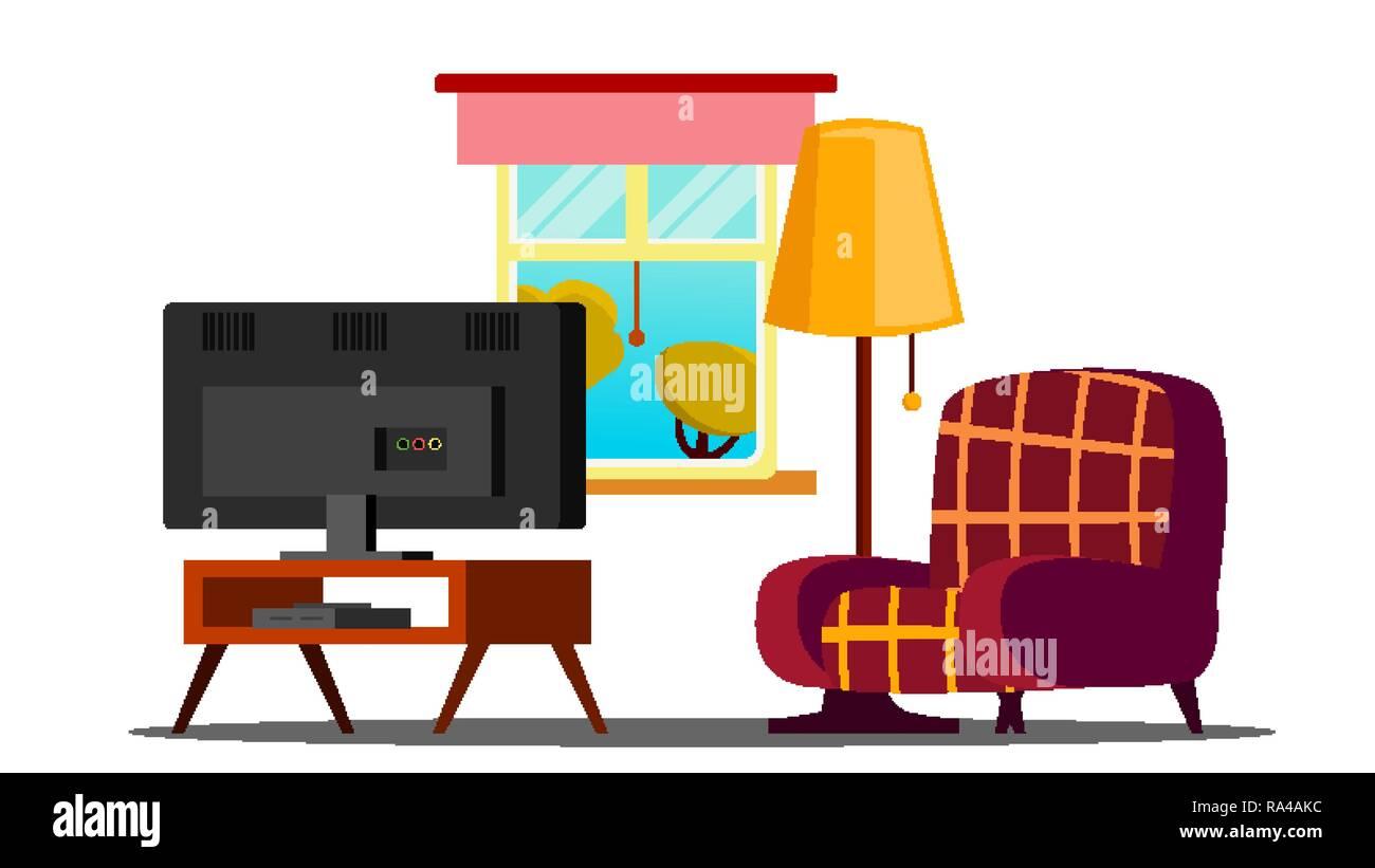 Home Interior Vector Living Room Classic Furniture Tv Isolated Flat Cartoon Illustration Stock Vector Image Art Alamy
