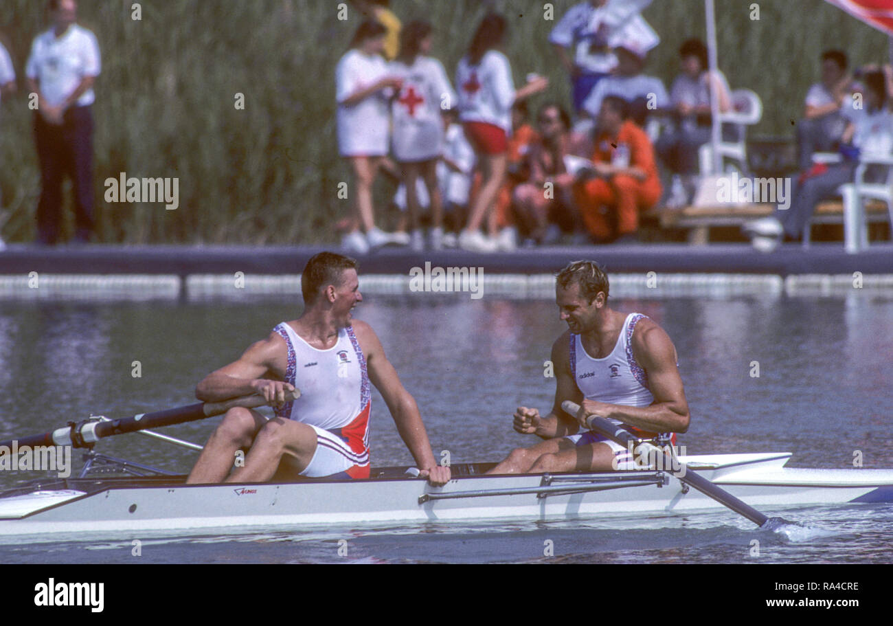 Barcelona, SPAIN. Gold medalist, GBR M2-, Bow Steven REDGRAVE and matthew PINSENT. 1992 Olympic Rowing Regatta Lake Banyoles, Catalonia [Mandatory Credit Peter Spurrier/ Intersport Images] Stock Photo