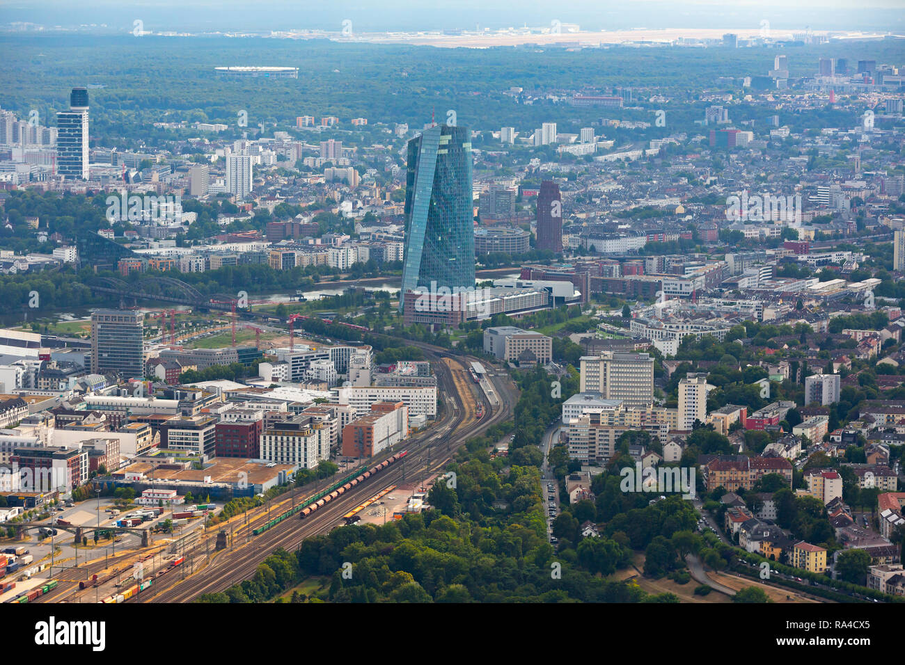 East Frankfurt, aerial view to south-west area Sachsenhausen district and Frankfurt airport in the background. European Central Bank in foreground. - Stock Image