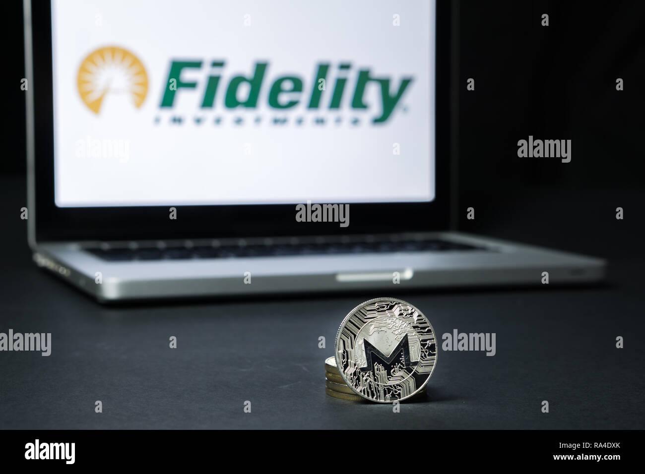 Monero coin with the Fidelity logo on a laptop screen, Slovenia - December 23th, 2018 Stock Photo