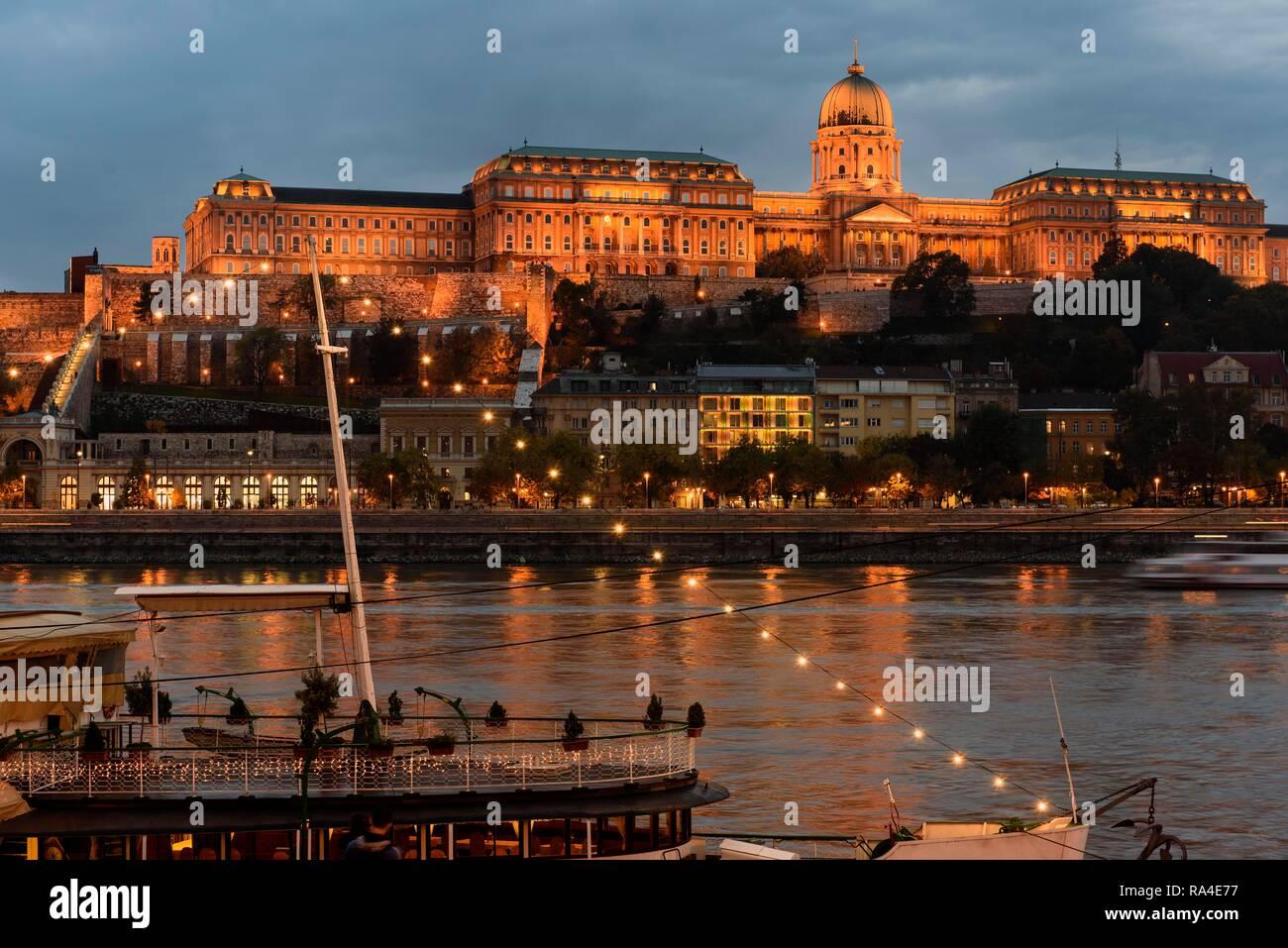 View from Pest on Buda with Buda Castle, Budavári Palota, Budapest, Hungary Stock Photo