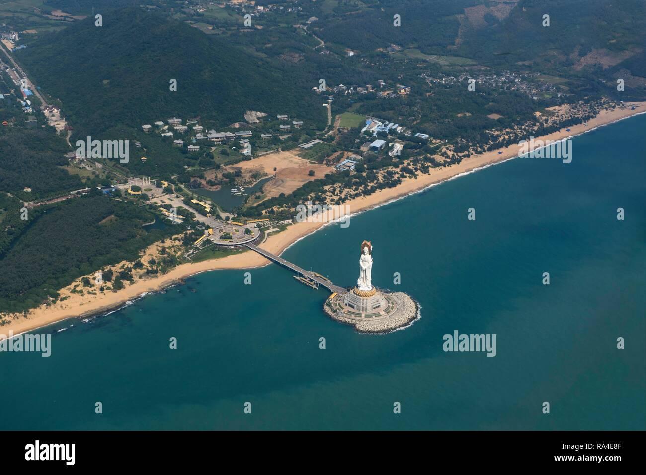 Aerial view, Guanyin of the South Sea of Sanya, statue, Nanshan Temple, Sanya, Hainan Island, China - Stock Image