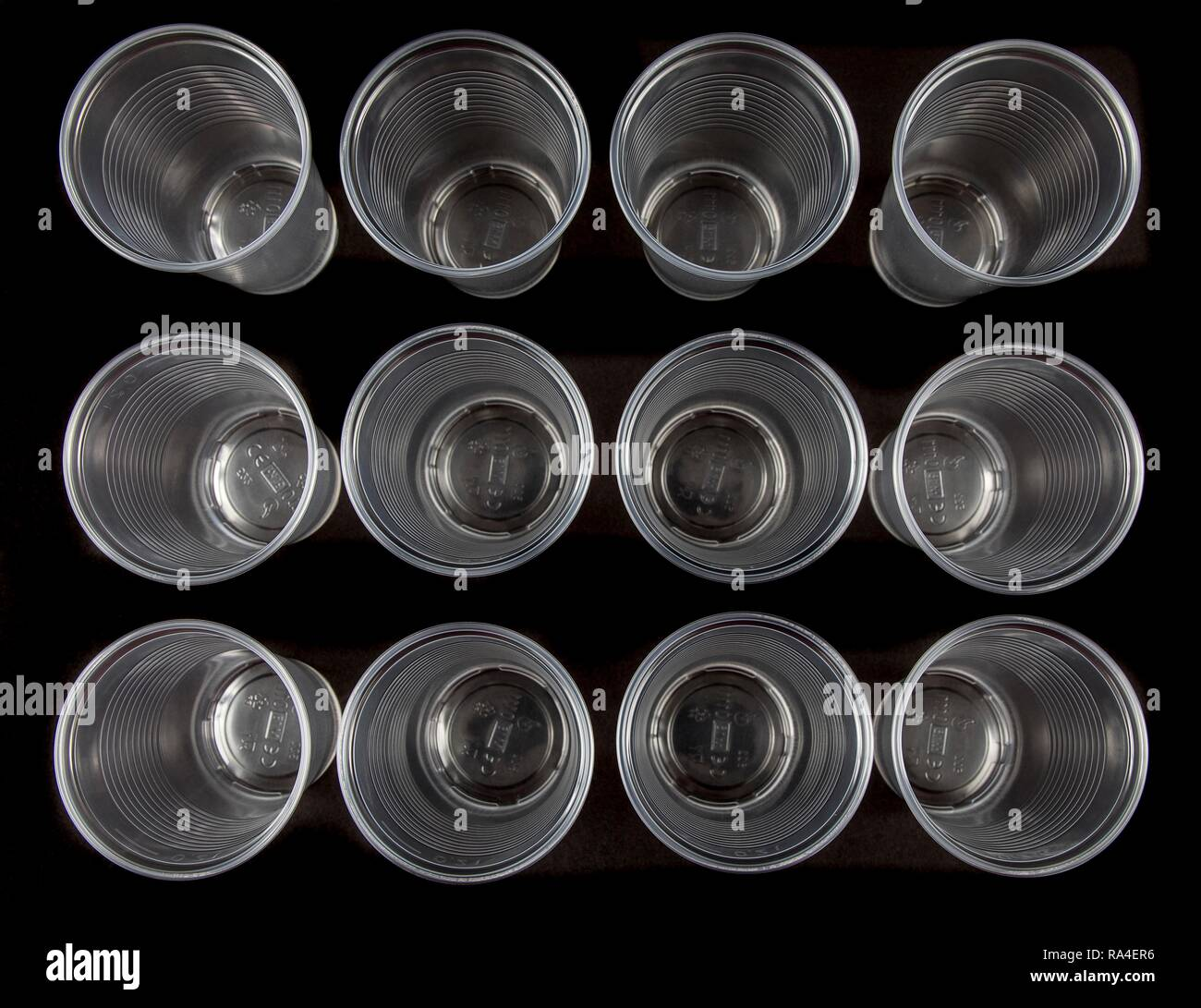 Disposable cups, plastic cups, transparent, 0, 2 litres, drinking cups, disposable cups, plastic waste Stock Photo