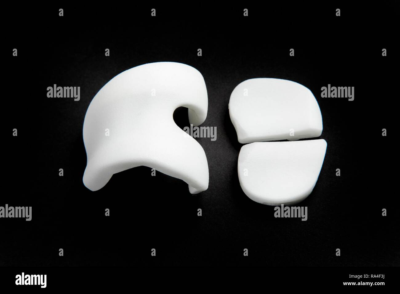 Knee prosthesis, knee endoprosthesis or knee joint prosthesis, made of plastic, individual prosthesis made of plastic - Stock Image