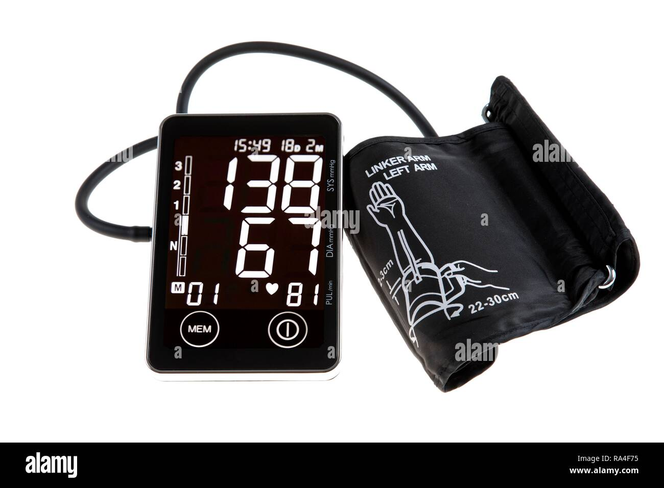 Blood pressure monitor, digital display, upper arm cuff, for self-measurement - Stock Image