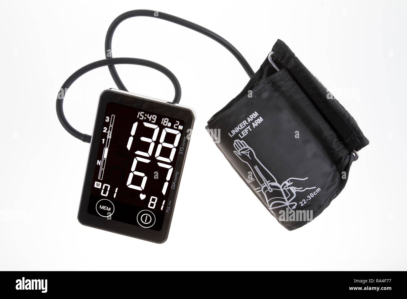 Blood Pressure Monitor Digital Display Upper Arm Cuff For Self Measurement Stock Photo Alamy