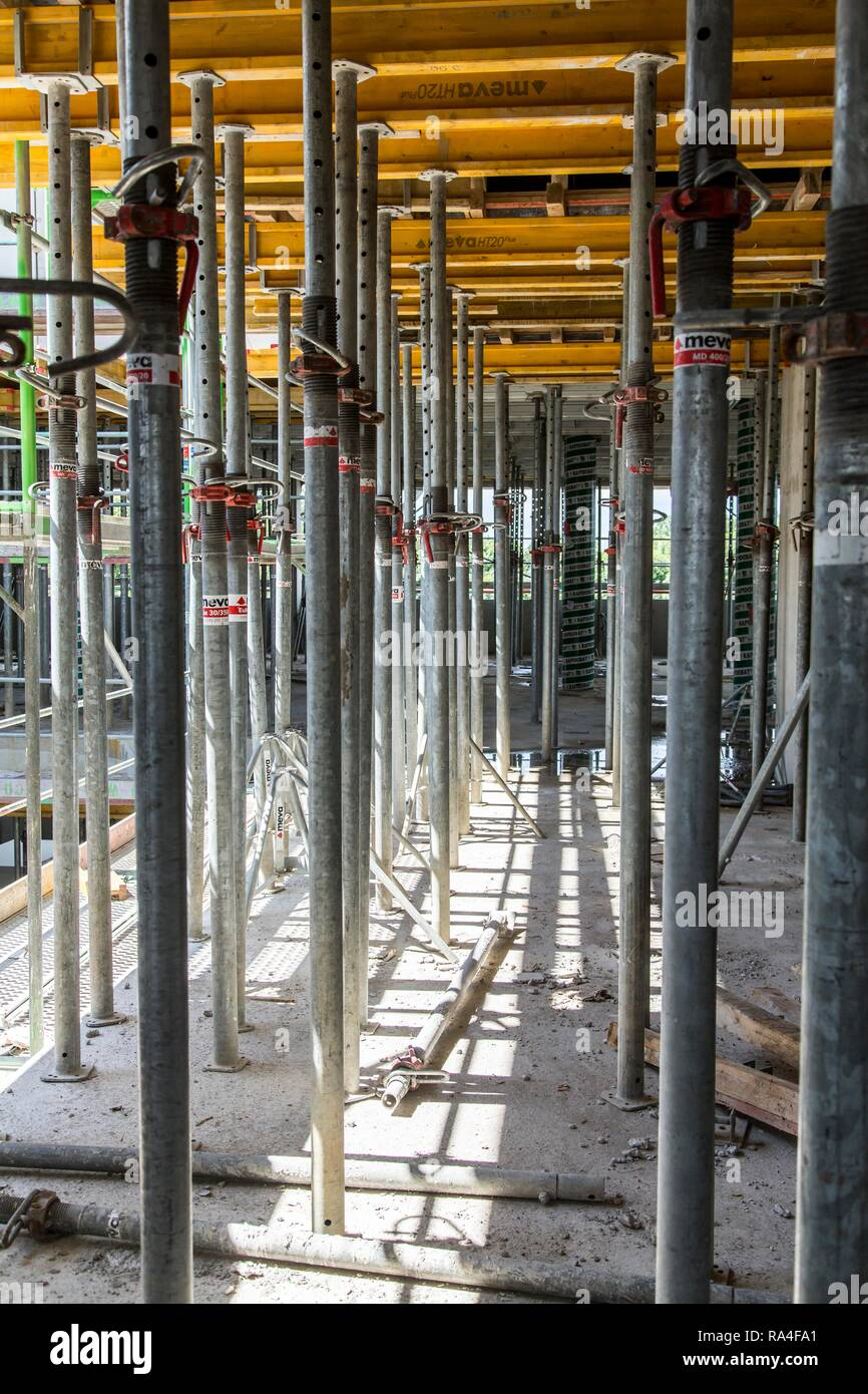 Construction site, shell, scaffolding, slab support after concreting, Germany Stock Photo