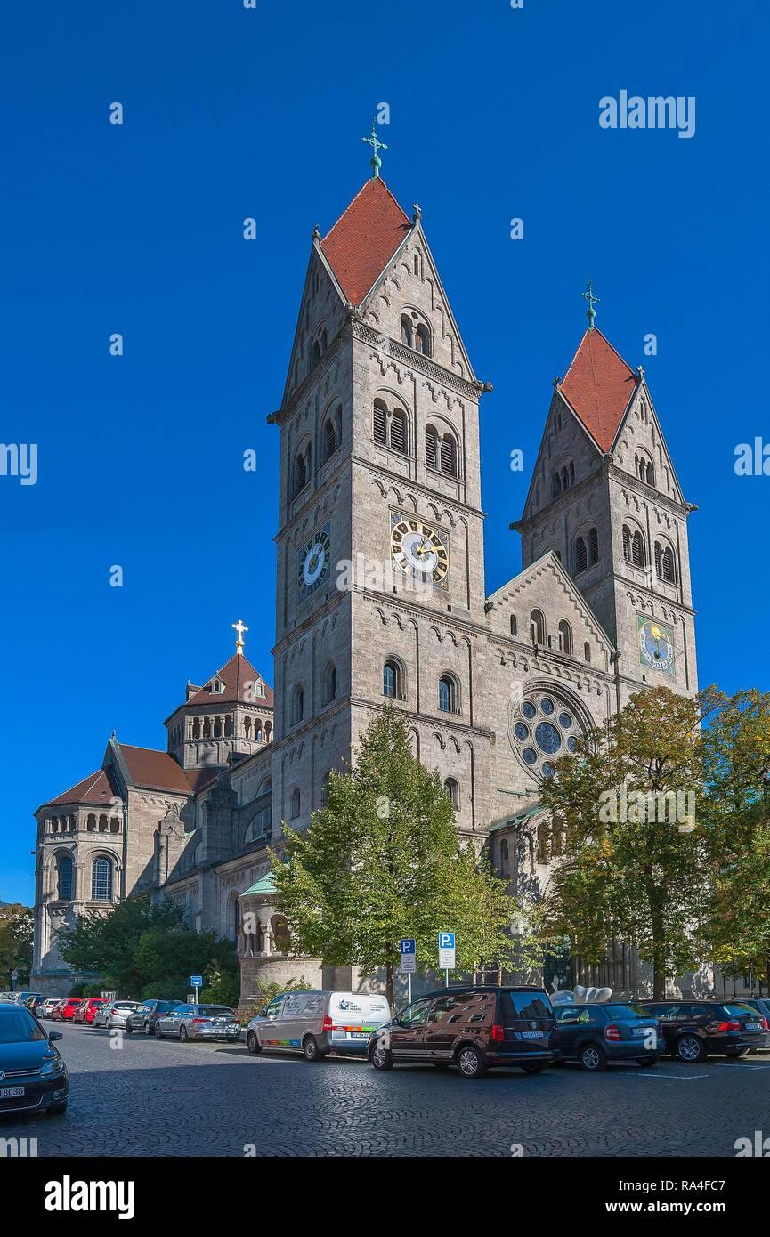 Parish Church St. Benno, Neo-Romanesque, Munich, Upper Bavaria, Bavaria, Germany - Stock Image
